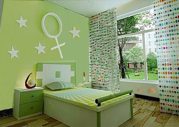 卧室绿色硅藻泥装修效果图