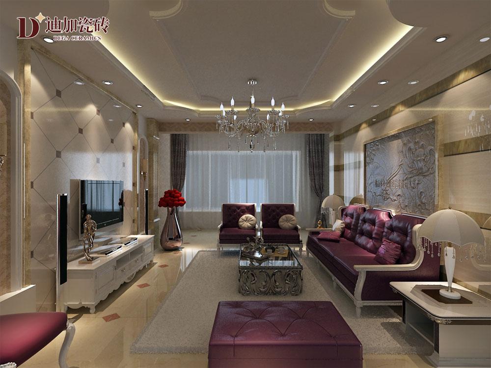 砖+紫色欧式沙发