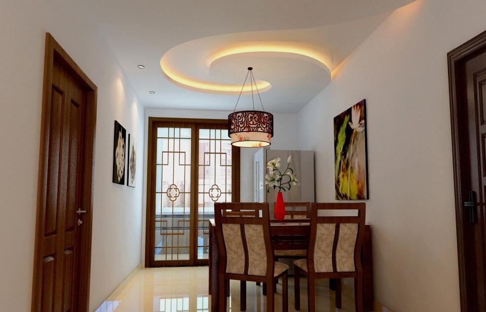 餐厅吊顶装修图二:这是一个纯中式风格装修的餐厅