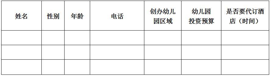 """""""幼儿园项目投资解析说明会""""报名表"""