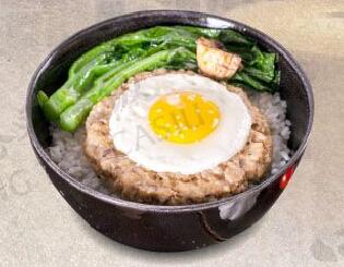 港岛记叉烧饭冬菇肉饼饭