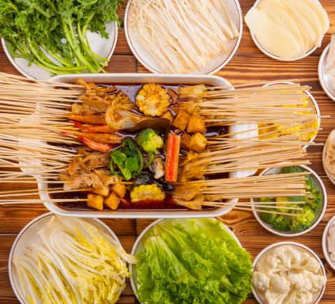 楊翔豆皮涮牛肚新鮮蔬菜