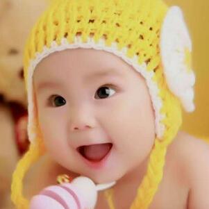 咿咿呀呀儿童摄影黄毛线帽