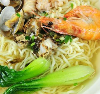面馆温州特色海鲜青菜虾面