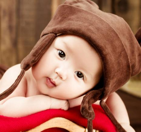 奇妙娃娃儿童摄影棕色帽子