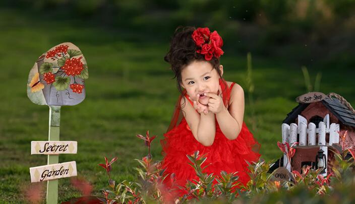 大西瓜儿童摄影红裙子