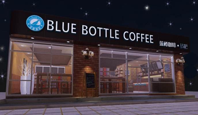 蓝樽咖啡店门头设计