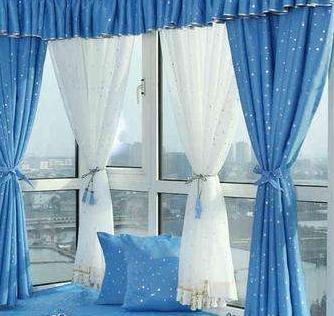 如鱼得水蓝色窗帘