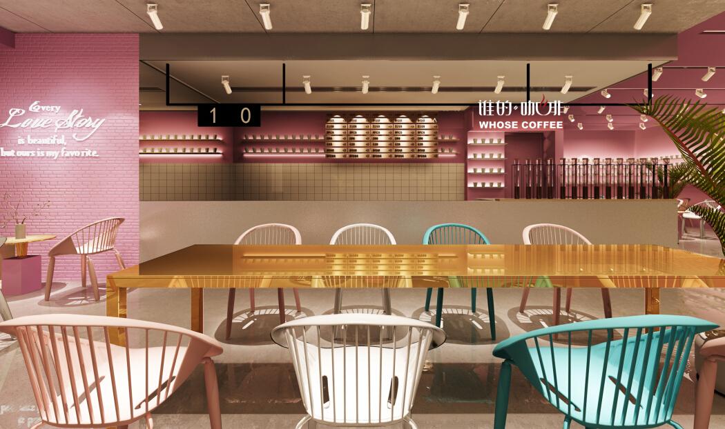 谁的咖啡迷你店粉色店面