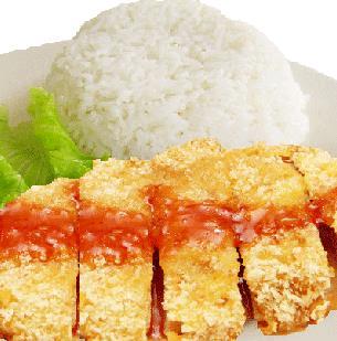 龙记香酥鸡排饭番茄汁鸡排饭
