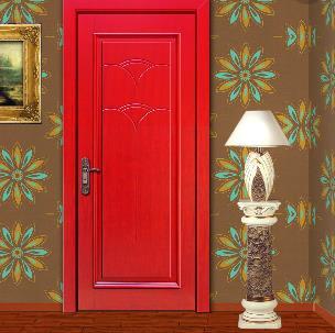 致雅木门红色实木复合门