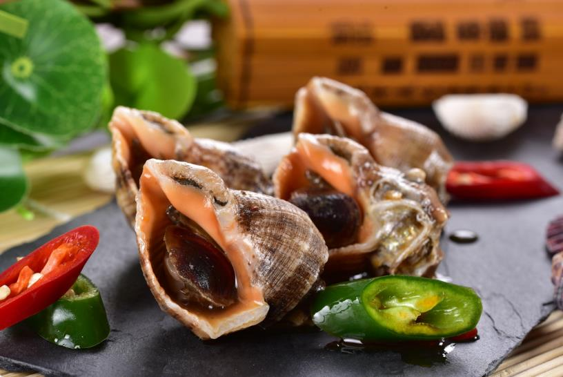 标记海鲜档海螺肉