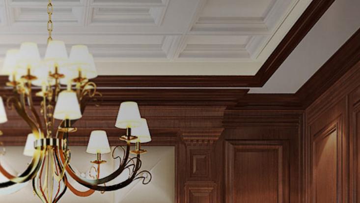 沃尔博美式吊顶客厅