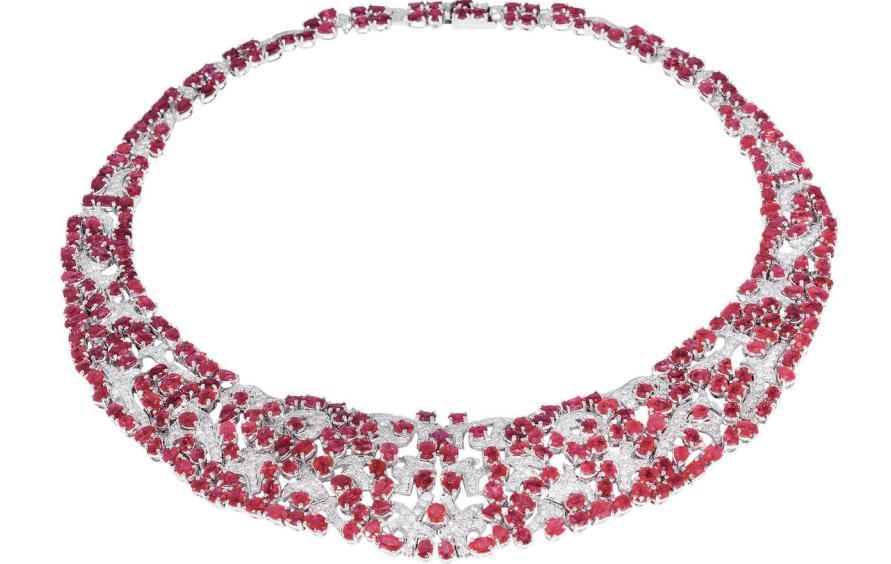 鉑金漢娜紅寶石項鏈