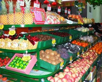 标记水果批发行水果专柜