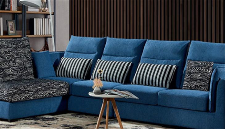 优迪布艺沙发蓝色沙发