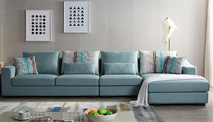 格调布艺沙发蓝色沙发