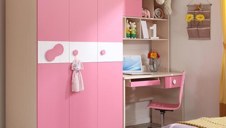 全友衣柜粉色款