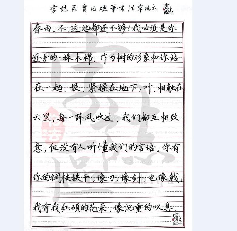 字志区硬笔书法作品2