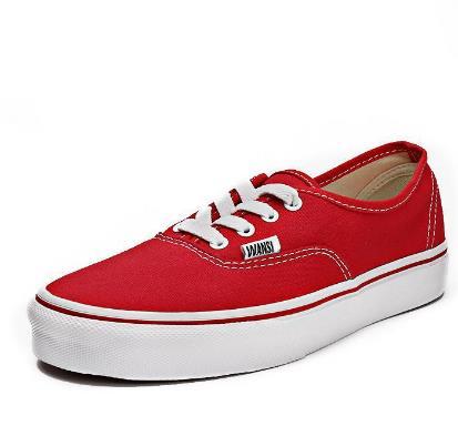 万斯帆布鞋红色