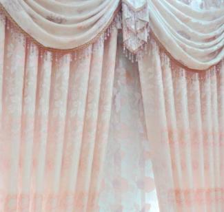 美布美窗帘粉色花纹款