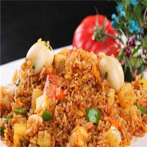 龙门海鲜铁板炒饭虾仁