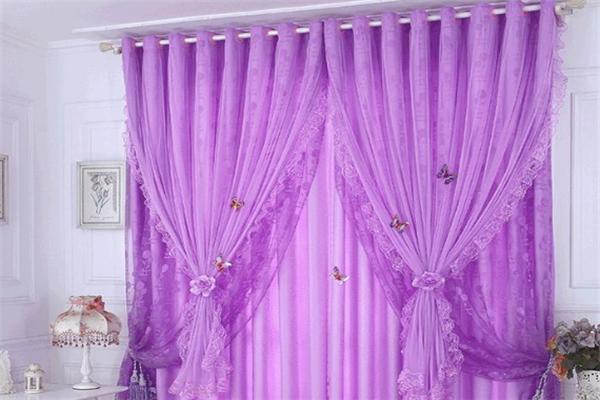 易簾花成品窗簾紫色窗簾