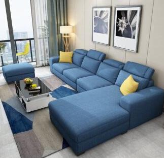 藍色布藝沙發