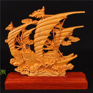 崖柏工藝品帆船