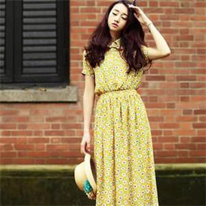 酷伊美9元女装黄色连衣裙
