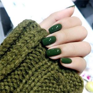 指间芭蕾美甲墨绿