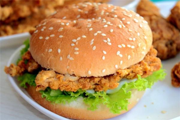 真鸡烈炸鸡汉堡生菜