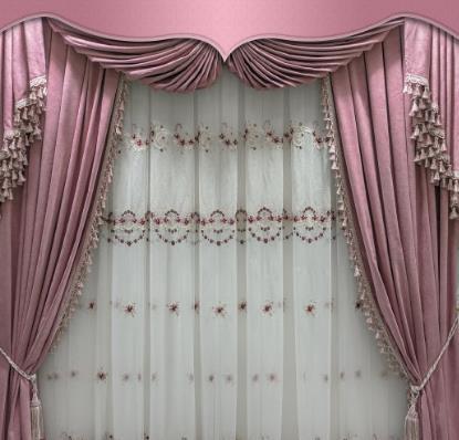 同创窗帘粉色
