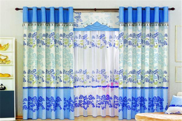 莫扎特窗簾布藝藍色