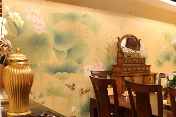手绘丝绸墙纸环保