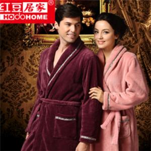 红豆居家服装珊瑚绒睡袍