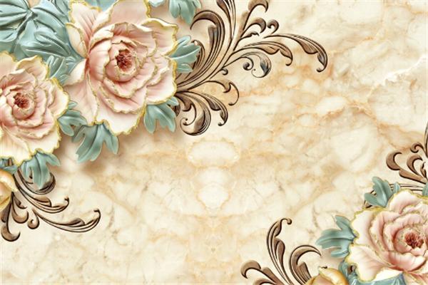 浮雕背景墙花朵