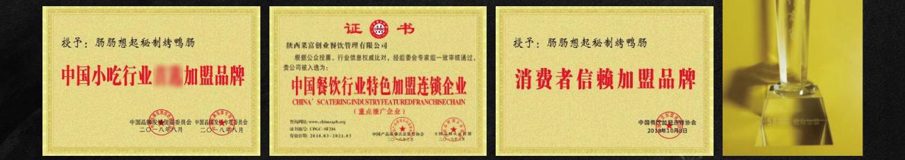 肠肠想起秘制烤鸭肠——荣誉证书