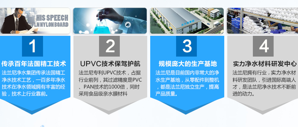 传承百年法国精工技术:法兰尼净水集团传承法国精工净水技术工艺,一百多年净水技术在净水领域拥有最丰富的经验,技术上行业领先;UPVC技术保驾护航:法兰尼专利UPVC技术,占据行业领先地位,其过滤精度是PVC、PAN技术的1000倍,同时采用食品级亲水膜材料,运用无添加剂配方,膜内壁镜面光滑,膜孔均匀,亲水性、抗压性更强,使用寿命长6年;规模庞大的生产基地:法兰尼是目前国内最大的净水生产基地,从零配件到整机,都是法兰尼独立生产,保证产品质量;专业净水材料研发中心:法兰尼拥有行业顶尖的净水材料研发团队,引进国际一线高端人才,是法兰尼净水技术不断前进的动力;