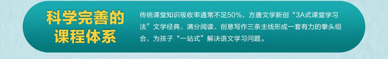 腾跃双师课堂——方唐文学  科学完善的课程体系